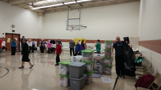 We packed several hundred bags for the month of January